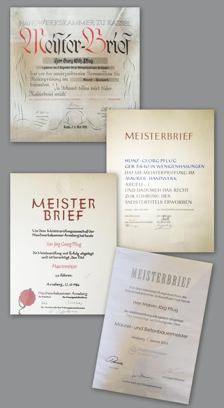 Meisterbriefe der 4 Generationen